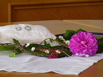 婚礼, 花, 结婚戒指, 之前