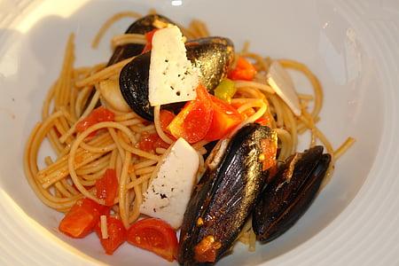 aliments, àpat, Espaguetis, pastes, sopar, italià, Sa