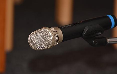 micròfon, Microordinador, tecnologia, xerrada, quadrícula, metàl·lics, so