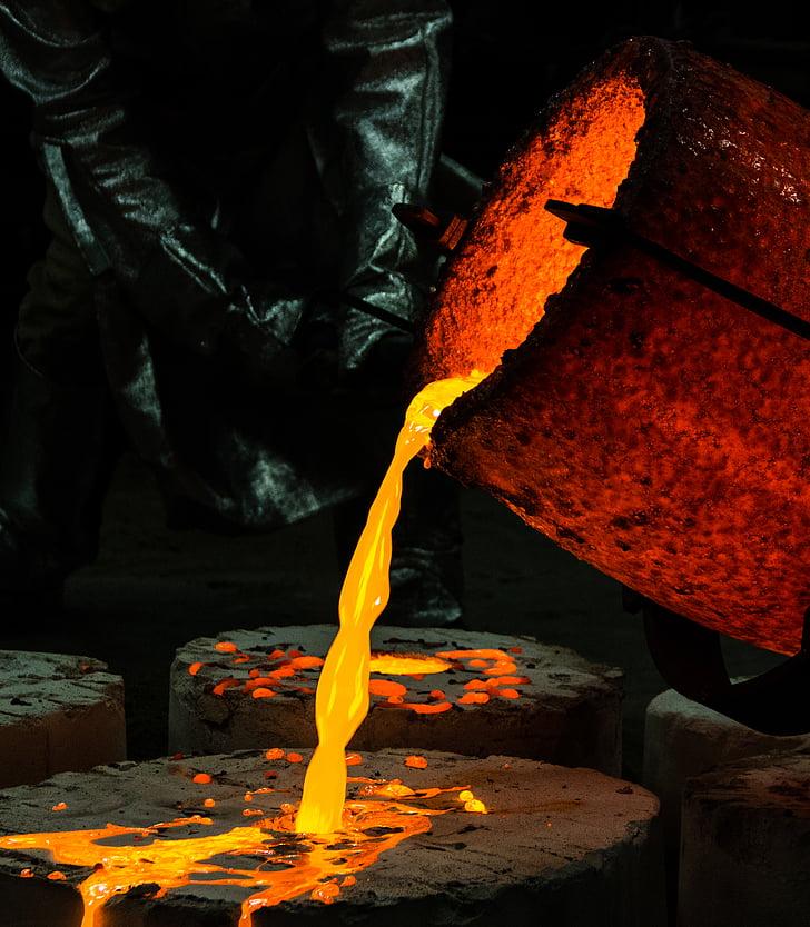 viimistletud, hõõguv, kuum, vedelik, metallist, metallurgia, sula