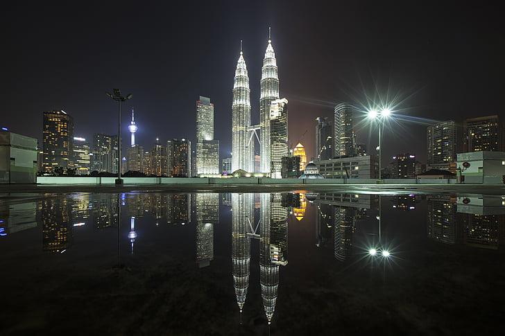 reflection, photography, petronas, twin, tower, malaysia, city