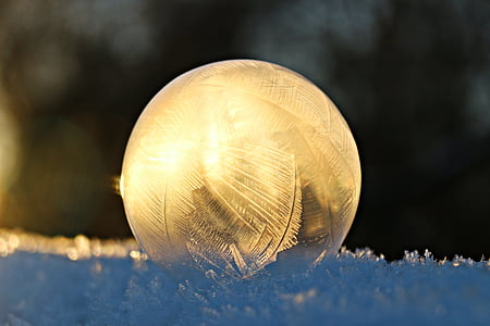 soap bubble, eiskristalle, ball, snow, frost, winter, frozen bubble