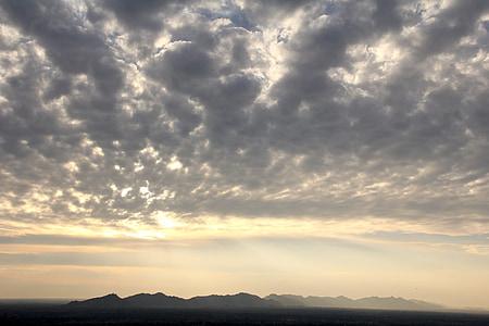 paisatge, Alba, muntanyes, morgenstimmung, sol, cel, cels
