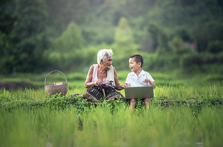 bestemor, barn, bærbar PC, Kjære, Myanmar burma, Asia, skolen