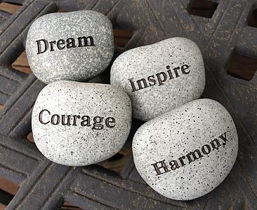 stones, dream, inspire, courage, harmony, rocks, imagination