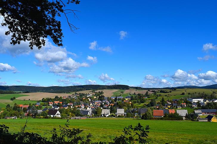 idill, falu, nyári, táj, idilli, Szászország, természet