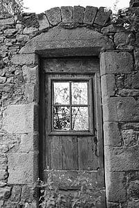 porta, ex, medieval, vell, arquitectura, blanc i negre, material de pedra