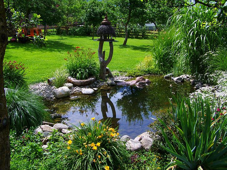 Zahradní jezírko, malý rybník, zahrada