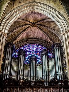òrgan, París, Catedral, roseta, Vitrall, columnes, l'església