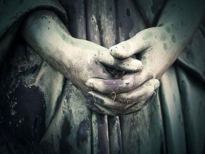 sepulcro, tumba, Cementerio, piedra sepulcral, talla de la roca, sombrío, estatua de