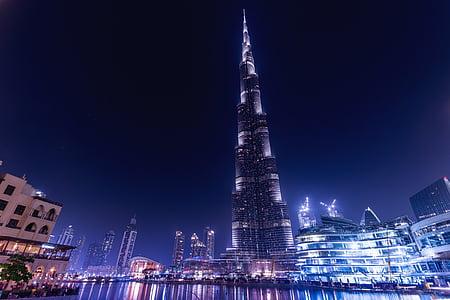 burj khalifa, emirates, dubai, uae, architecture, skyscraper, night