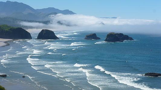 oceà, Costa, ones, Oregon, Estats Units, platja, l'aigua