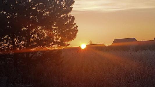 Alba, matí, sol, cels, morgenstimmung, taronja, morgenrot
