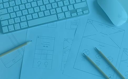 desktop, mac, apple, keyboard, pen, graphic, technology