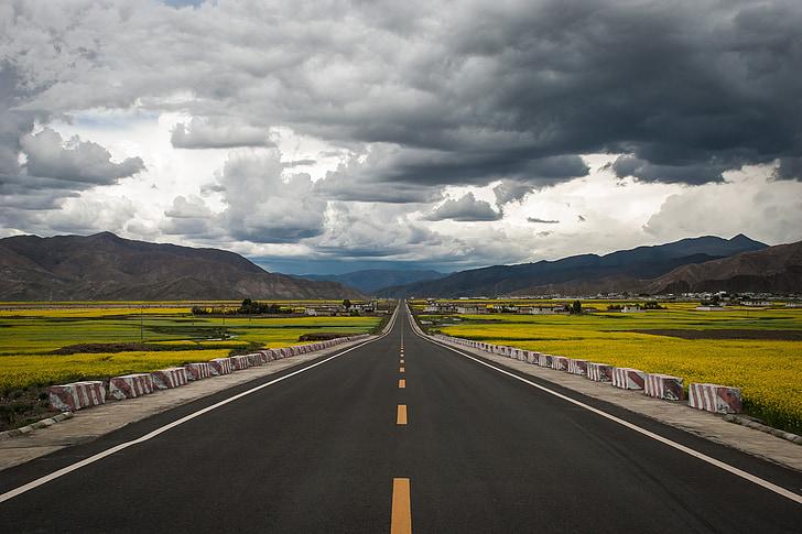 dangus, kelių, geltona, debesys, asfalto, Tibetas, Kinija