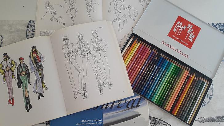 Рисуване, моливи, работен плот, изкуство, цветове, много цветни, хартия