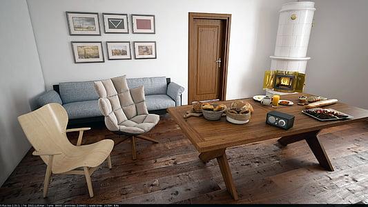 sala, Apartament, casa, disseny d'interiors, disseny, mobles, sofà