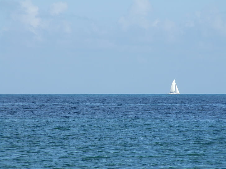 veler, vaixell, Mar, Portuària, blau, vela, calma