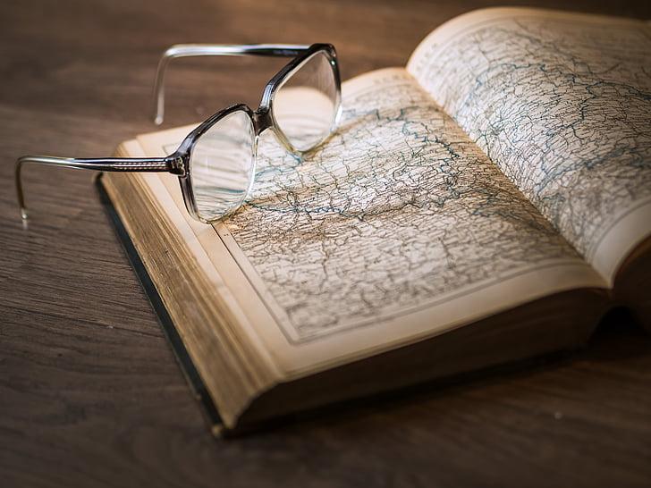 γνώση, το βιβλίο, βιβλιοθήκη, γυαλιά, εγχειρίδιο, πληροφορίες, εκπαίδευση