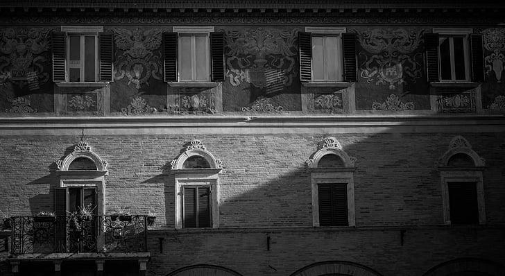 gamlebyen, Italia, balkong, byen, hjem, Spa, svart-hvitt