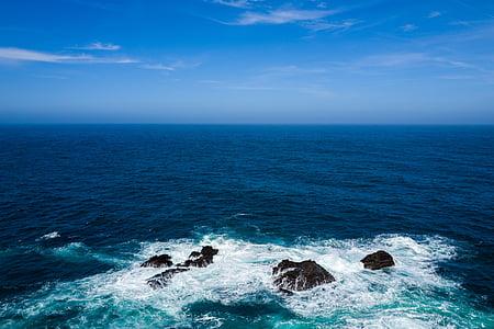 Голубое небо, Горизонт, Природа, океан, скалы, мне?, морской пейзаж