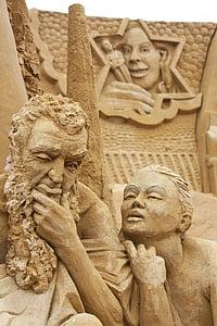 sand sculpture, sculpture, sand, denmark, human, art, festival