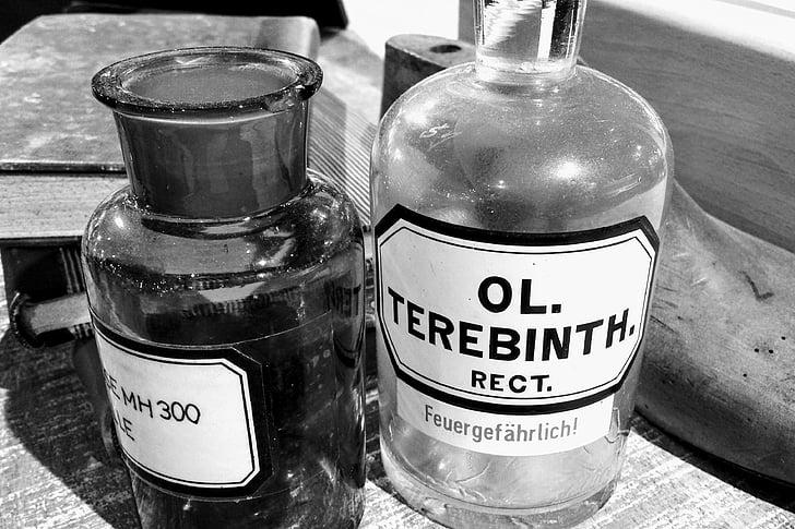 láhve, chemii, staré, láhev