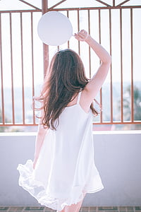 noia, blanc, vestit, femella, posta de sol, estil, model de