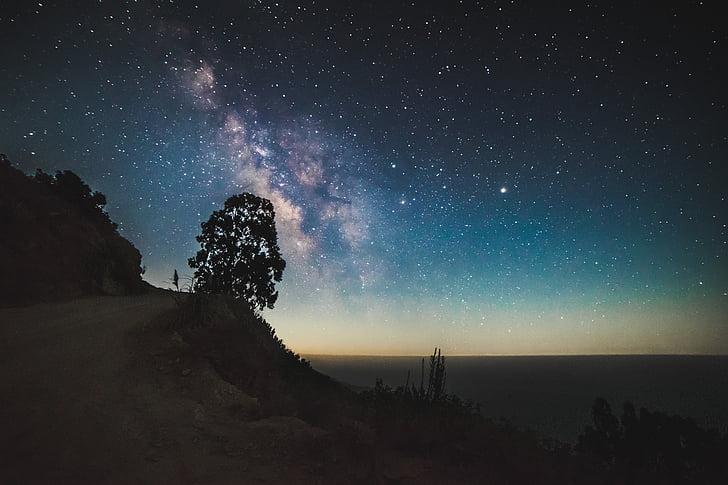 Cosmo, paisagem, Via Láctea, montanha, natureza, ao ar livre, silhueta