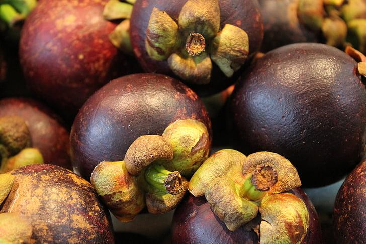 マンゴスチン, フルーツ, エキゾチックなフルーツ, 新鮮な市場, 食品, 鮮度, 有機