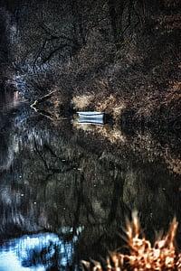 Річка, спокійній річці, Осінь, Осінь на річці, човен