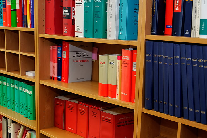 bookcase, law firm, attorney, law books, regulation, paragraphs, right