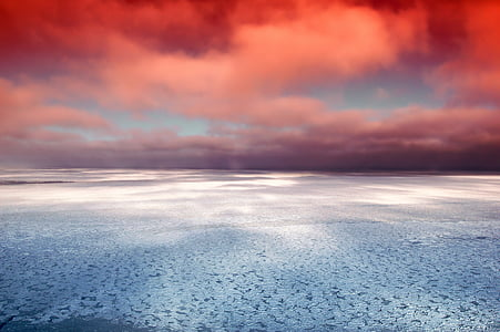Hudson bay, Kanada, Sea, Ocean, Ice, Reflections, taivas
