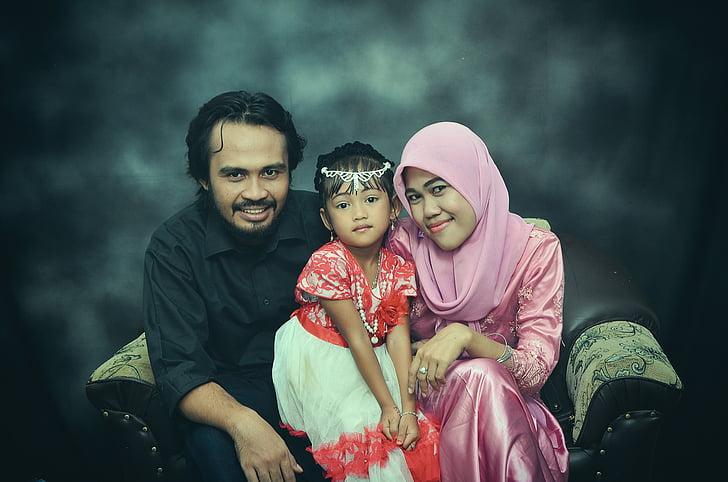 Rodzina, Indonezyjski, Indonezyjski-kobiety, starsze dziecko, twarz, Java, radość