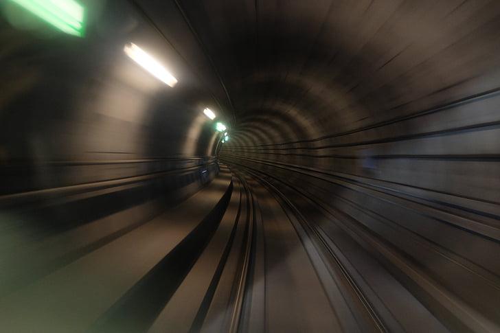 поїзд, Станція, Залізничні, стежка, Темний, Ліхтарі, рух
