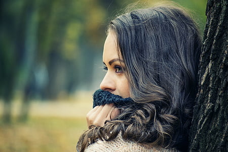 girl looking away, girls with scarf on her mouth, girl portrait outdoors, face, female, girl, lady