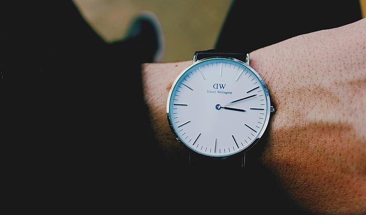 persones, home, mà, canell, veure, temps, rellotge