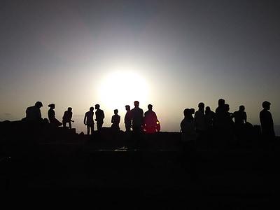 solnedgång, folkmassan siluett, siluett, team