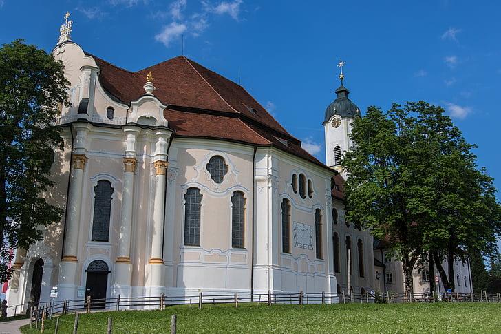 pilgrimage church of wies, rococo, schwangau, religion, church, pilgrimage church, art