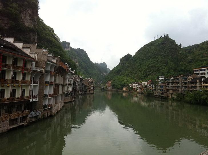 reflexió, l'aigua, edifici, Àsia, arquitectura, cultures, muntanya