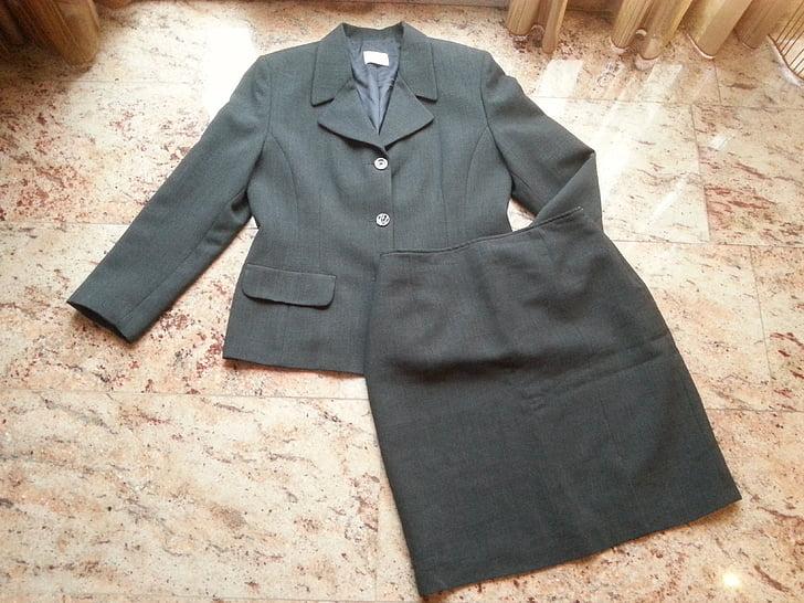 suit, grey, clothing, ladies, fashion