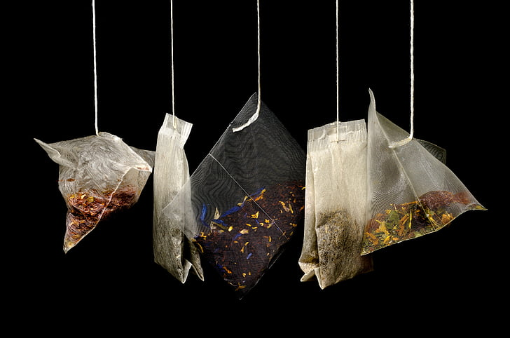tea, teabags, black background, macro, kitchen, drink, hot