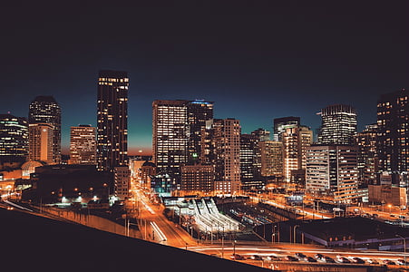 skyscrapers, city night, city at night, skyline, cityscape, downtown, metropolis