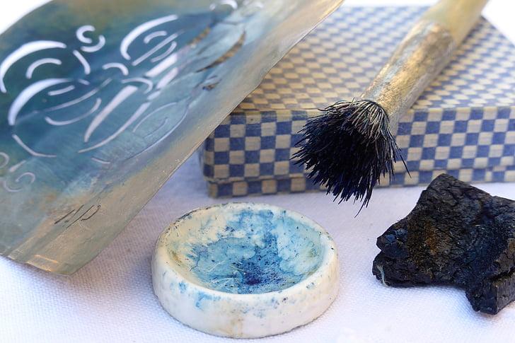 modèle, Lin broderie, bleu, blanc, travail de la main, boîte de, brosse