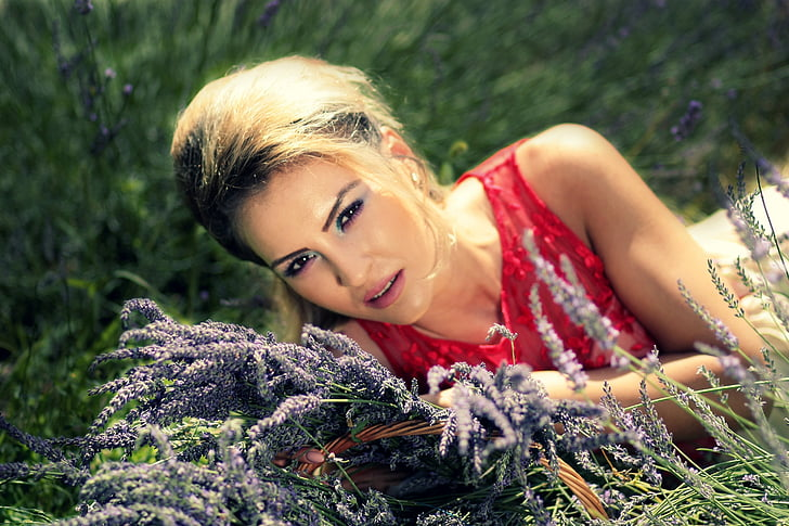 girl, lavender, blonde, portrait, flower, red, sensual
