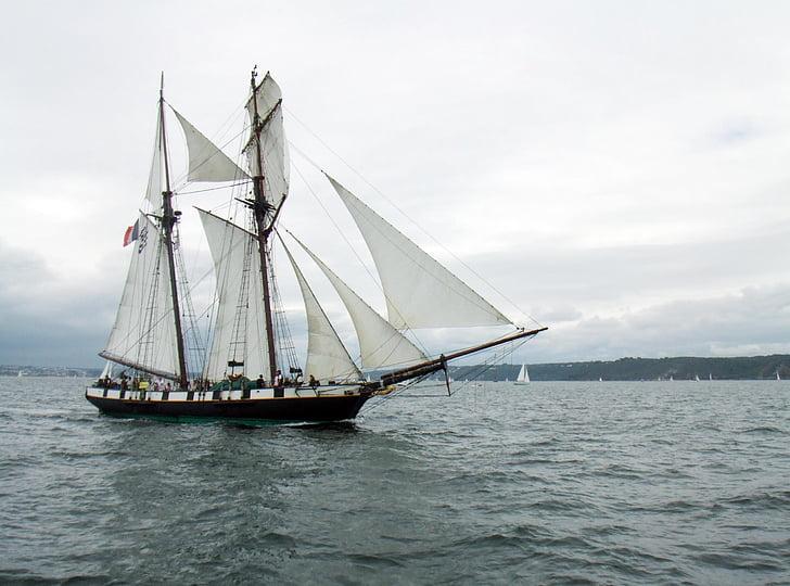 sailboat, former, brest, nautical Vessel, sailing, sail, sailing Ship