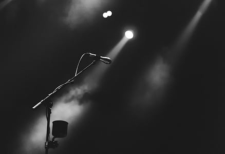 microphone, performance, stage, concert, smoke, lights, black and white