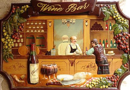 bar anggur, iklan, perisai, papan iklan, anggur, Bar