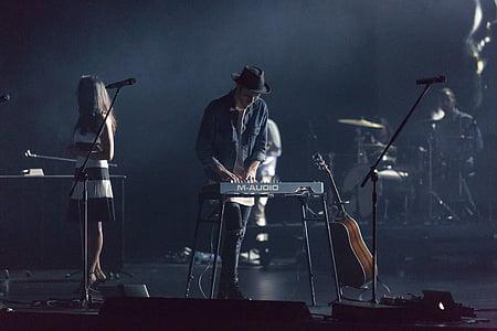 people, man, girl, musician, piano, microphone, guitar