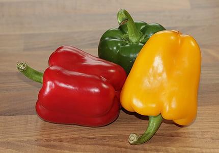pebre vermell, aliments, Sa, ric en vitamines, vermell, verd, groc